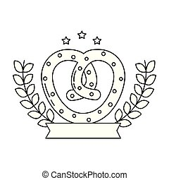 pretzel snack food diet emblem vector illustration outline