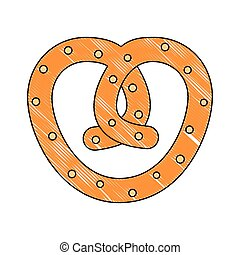 pretzel snack food diet icon vector illustration