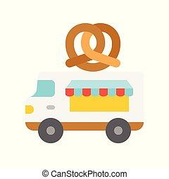 Pretzel truck vector, Food truck flat style icon