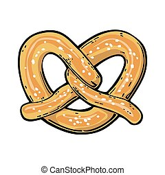 Pretzel. Vintage vector flat illustration