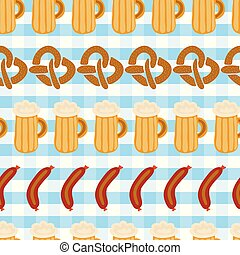 Pretzels beer sausage seamless vector pattern tile