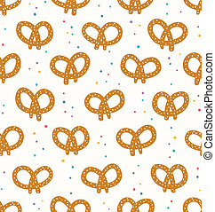 Pretzels dotted seamless pattern