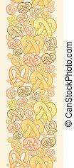 pretzels, vertical, padrão, seamless, fundo, borda