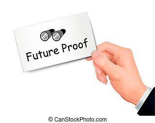 preuve, avenir, main carte
