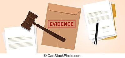 preuve, brun, affranchi, enveloppe, concept, justice, droit & loi, évidence, tribunal