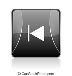 prev black square web glossy icon