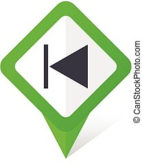 Prev green square pointer vector icon in eps 10 on white background with shadow.