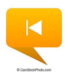 prev orange bulb web icon isolated.