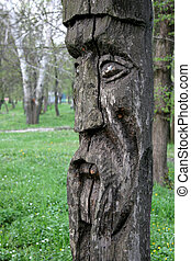 prevchristianity hand made Slavic wooden idol in nature