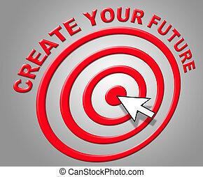 prevedendo, creare, predizione, indica, futuro, costruire, ...