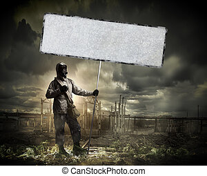 Prevent disaster - Image of stalker with blank banner...