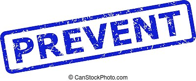 Blue PREVENT watermark on a white background. Flat vector grunge watermark with PREVENT text is placed inside rounded rectangular frame. Watermark with grunged surface.