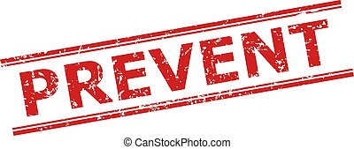 Red PREVENT seal stamp on a white background. Flat vector distress stamp with PREVENT phrase between double parallel lines. Imprint with distress surface.