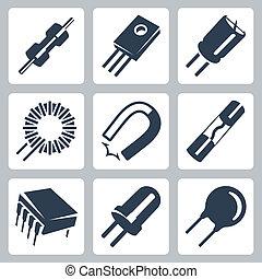 preventer, tranzisztor, alkatrészek, ikonok, mágnes, dióda, kondenzátor, vektor, set:, inductance, ellenállás, elektronikus, varistor, felteker, microcircuit