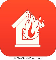 Preventing fire icon digital red