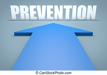 Prevention - 3d render concept of blue arrow pointing to...