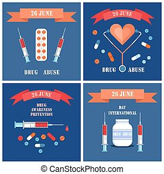 Prevention Awareness Posters Set Syringe and Pills -...