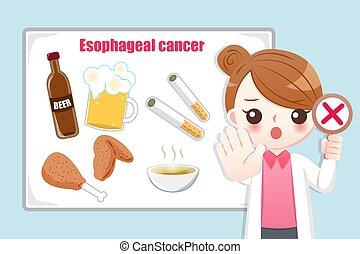 woman doctor teach medical knowledge about foods which are easily lead to esophageal cancer cause
