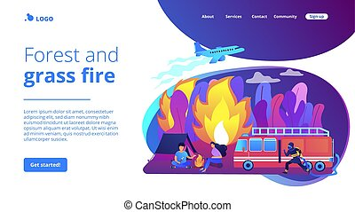 Prevention of wildfire concept landing page. - Firefighting...