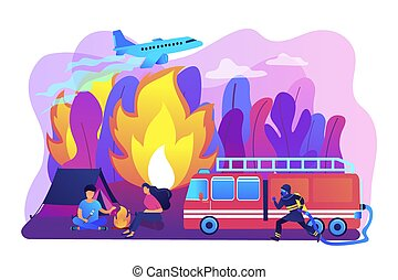 Prevention of wildfire concept vector illustration. -...