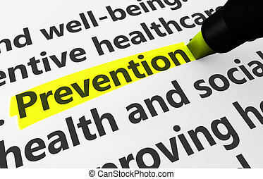 Preventive healthcare concept with a 3d rendering of medical related words and prevention text highlighted with a yellow marker.