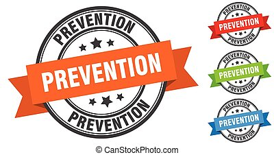 prevention stamp. round band sign set. label