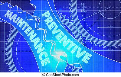 Preventive Maintenance Concept. Blueprint of Gears. -...
