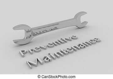 Render illustration of Preventive Maintenance title written in embossed letters, with a wrench.