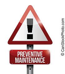 preventivo, mantenimiento, ilustración, señal
