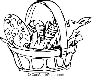 Preview basket with painted easter