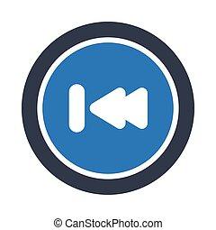 previous glyph color vector icon