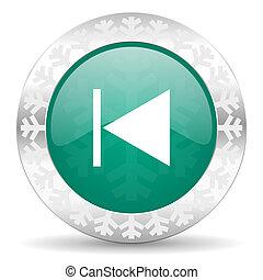 previous green icon, christmas button