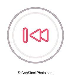 previous thin color line vector icon
