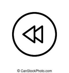 previous thin line icon