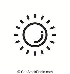 previsão, sinal., meteorology., simples, estilo, teia, modelo, logo., tempo, isolado, vetorial, element., linha, apartamento, sol, widgets., desenho, illustration., luz solar, móvel, icon., app, symbols., linear