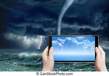 previsão tempo, augmented, realidade
