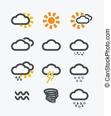 previsione, tempo, icone, set
