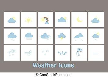 previsione, website., grande, collezione, app, simboli, mobile, tempo