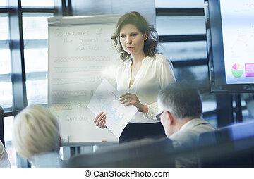 prezentacja, coworker, handlowy, samica