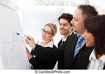 prezentacja, grupa, handlowy zaludniają