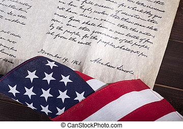 prezydent, abraham, lincoln's, gettysburg, adres