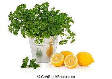 prezzemolo, erba, e, limone, frutta