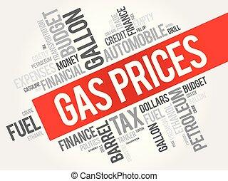 prezzi, collage, parola, nuvola, gas