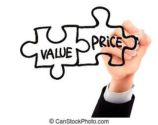 prezzo, 3d, scritto, valore, mano