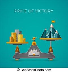 prezzo, di, vittoria, vettore, concetto, in, appartamento,...