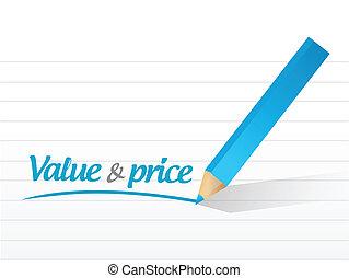 prezzo, messaggio, disegno, valore, illustrazione