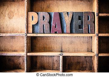 prière, concept, bois, letterpress, thème