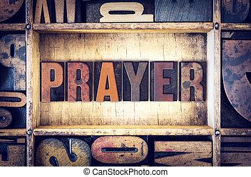prière, concept, letterpress, type