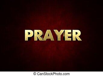 prière, concept, métal, presse lettre, mot, dans, arrière-plan rouge
