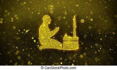 prière, doré, islamique, ramadan, éclat, particles., religion, icône, prier, scintillement